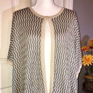 Chico's NWT Patsy chevron Ruana shawl one sz beige